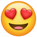 Image of a smiling face with heart-shaped eyes emoji